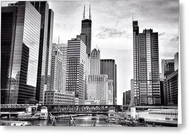 Chicago River Buildings Black And White Photo Greeting Card by Paul Velgos