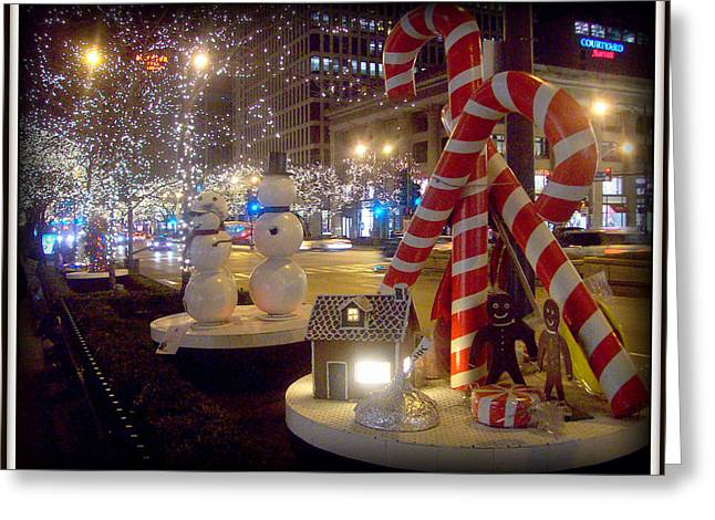 Chicago Christmas Candy Canes Greeting Card