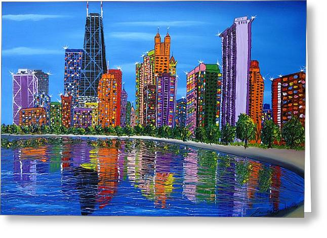Chicago City Lights #1 Greeting Card by Portland Art Creations
