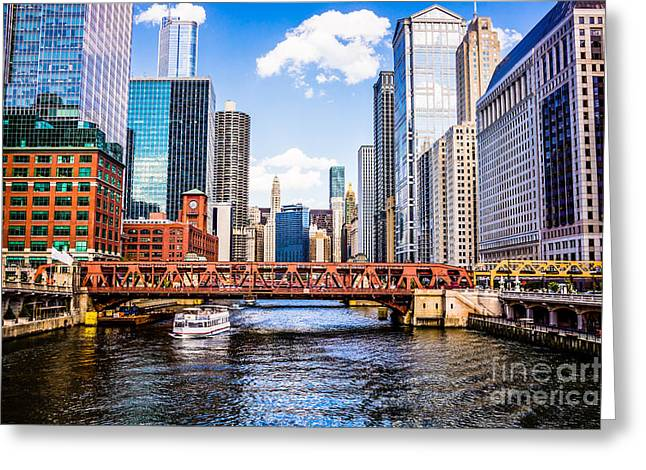 Chicago Cityscape At Wells Street Bridge Greeting Card