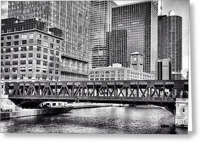 Wells Street Bridge Chicago Hdr Photo Greeting Card