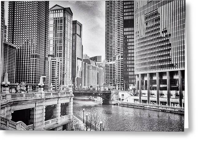 #chicago #cityscape #chicagoriver Greeting Card