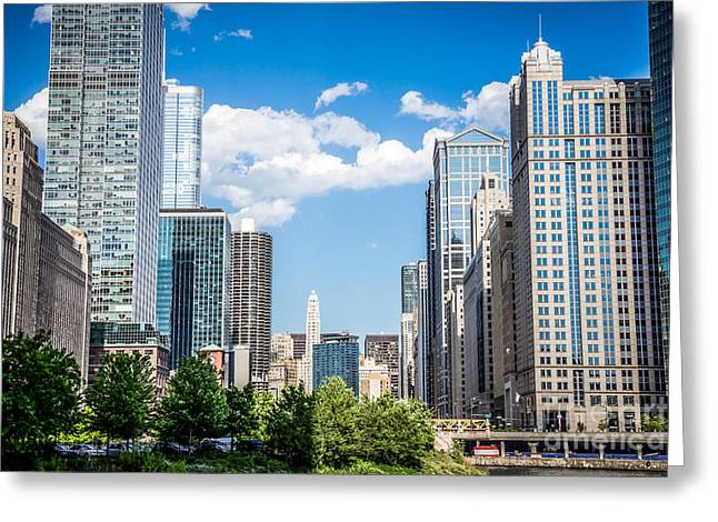 Chicago Cityscape Downtown Buildings Greeting Card by Paul Velgos