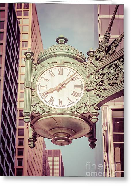 Chicago Clock Retro Photo Greeting Card by Paul Velgos
