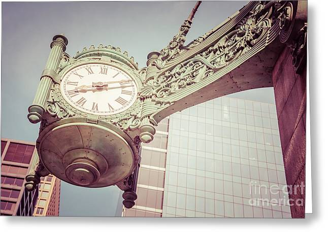 Chicago Clock Vintage Photo Greeting Card by Paul Velgos