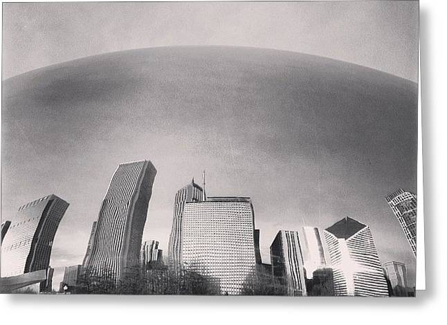 Cloud Gate Chicago Skyline Reflection Greeting Card by Paul Velgos