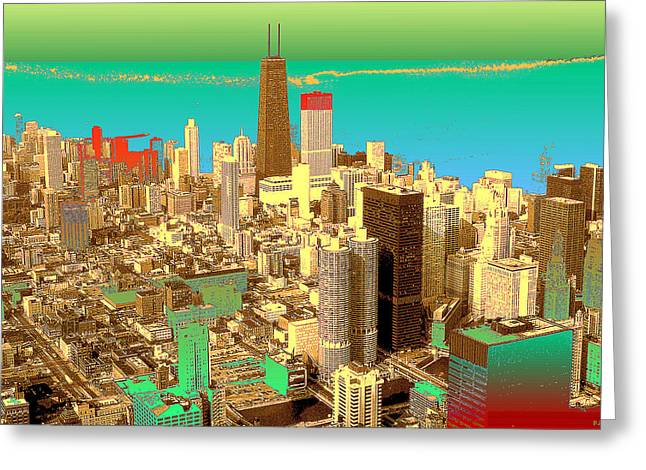 Chicago Pop Art In Blue Green Red Yellow Greeting Card