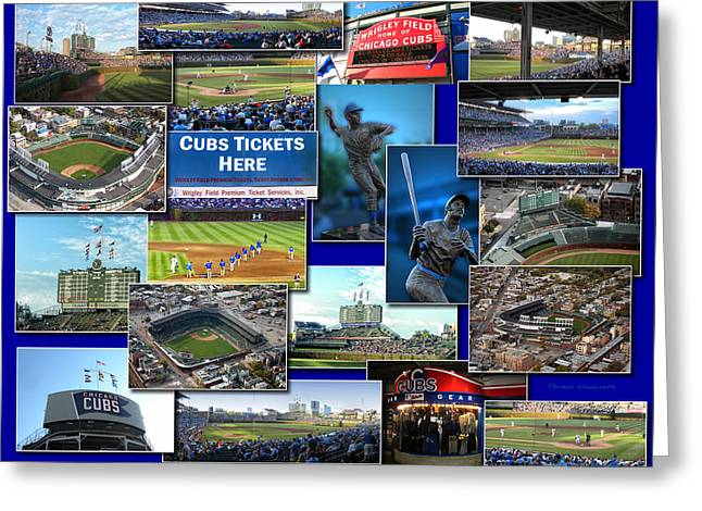 Chicago Cubs Collage Greeting Card by Thomas Woolworth