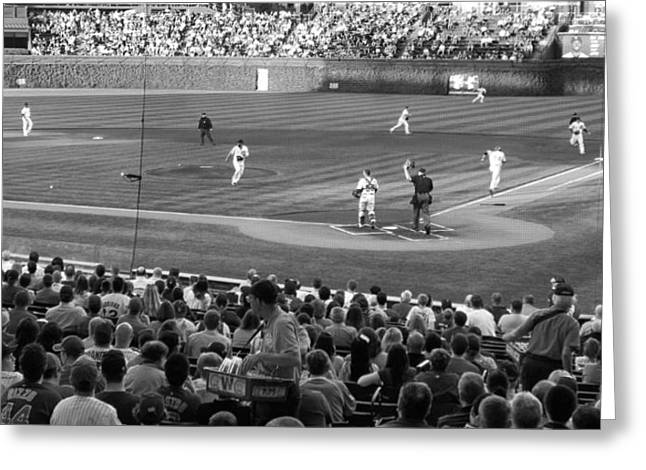 Chicago Cubs On The Defense Greeting Card by Thomas Woolworth