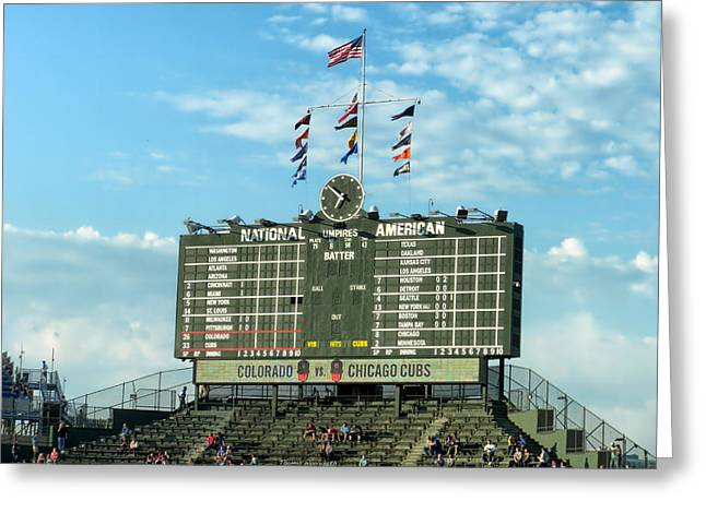 Chicago Cubs Scoreboard 02 Greeting Card by Thomas Woolworth