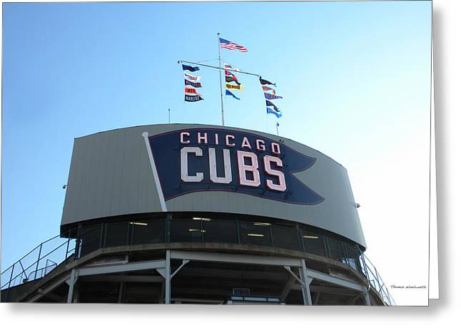 Chicago Cubs Signage Greeting Card by Thomas Woolworth