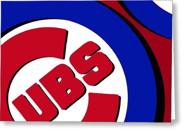 Chicago Cubs Football Greeting Card by Tony Rubino