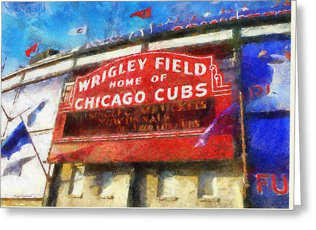 Chicago Cubs Wrigley Field Marquee Photo Art 02 Greeting Card by Thomas Woolworth