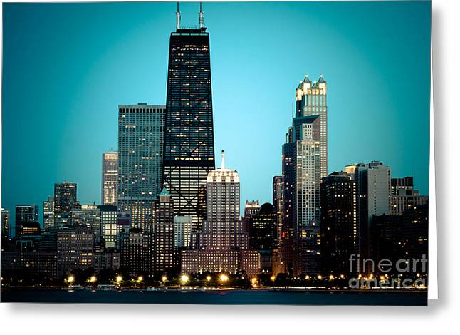 Chicago Downtown At Night With Hancock Building Greeting Card