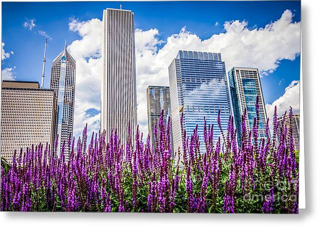 Chicago Downtown Buildings And Spring Flowers Greeting Card