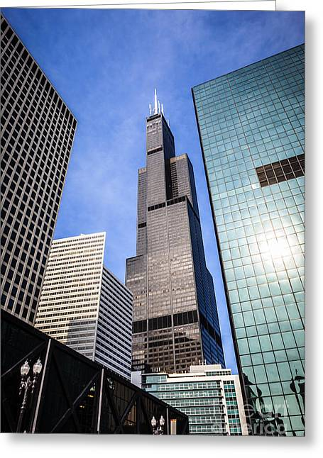 Chicago Downtown City Buildings With Willis-sears Tower Greeting Card by Paul Velgos
