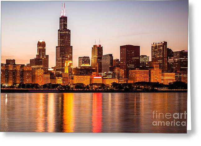 Chicago Downtown City Lakefront With Willis-sears Tower Greeting Card