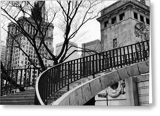 Chicago Staircase Black And White Picture Greeting Card