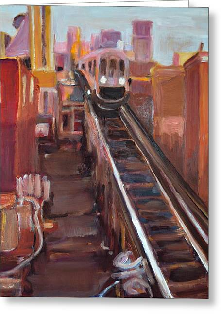 Chicago El Greeting Card by Julie Todd-Cundiff