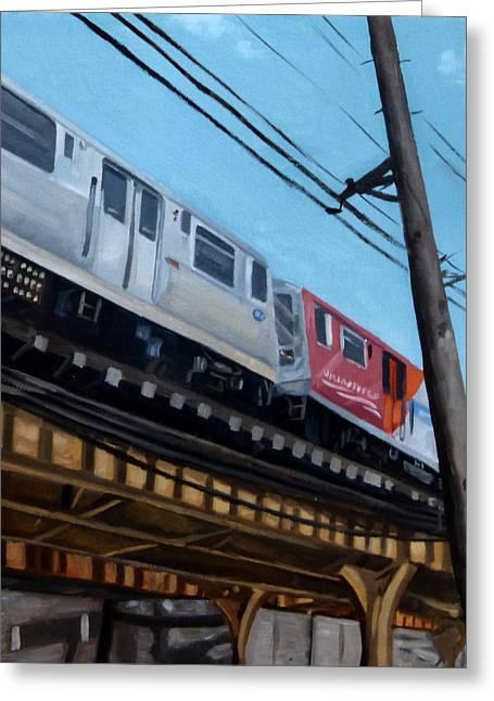 Chicago El Train Blue Line Greeting Card