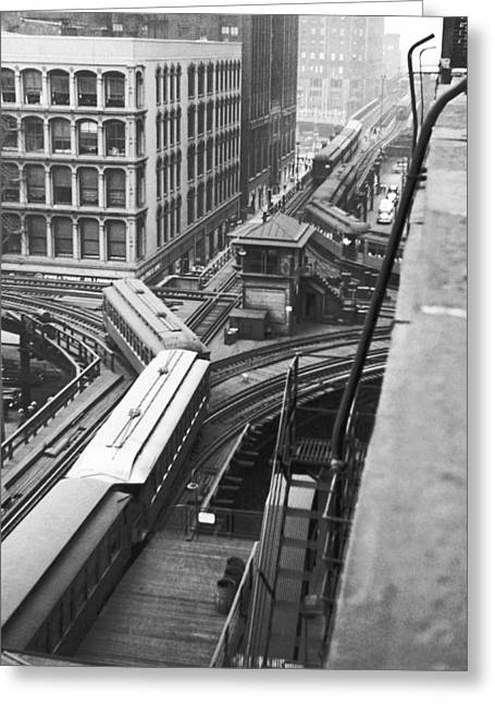 Chicago El Train Greeting Card by Underwood Archives
