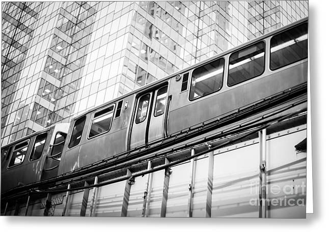 Chicago Elevated El Train In Black And White Greeting Card by Paul Velgos