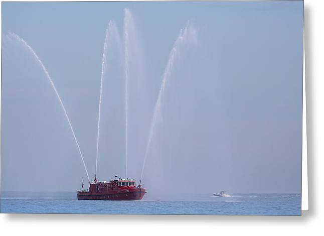 Chicago Fireboat Greeting Card by Adam Romanowicz