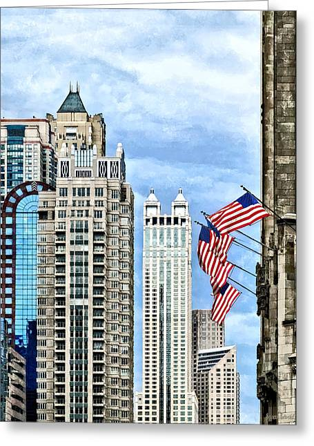 Chicago - Flags Along Michigan Avenue Greeting Card by Susan Savad