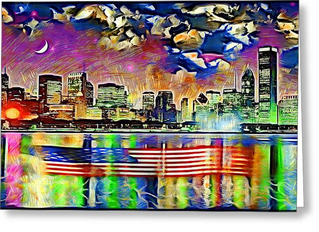 Chicago Floating Flag Greeting Card