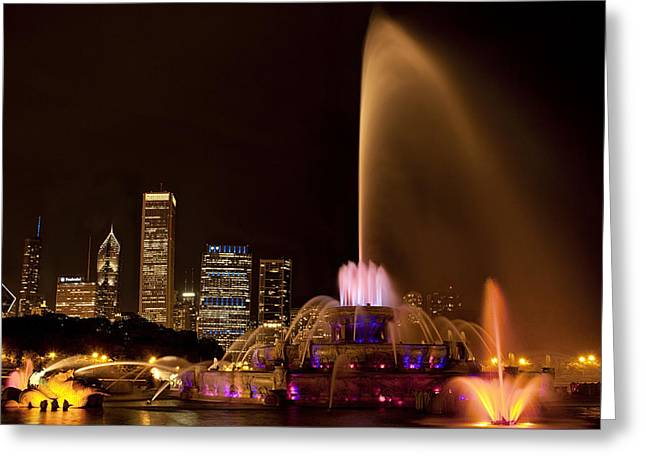 Chicago Fountain At Night Greeting Card by Andrew Soundarajan