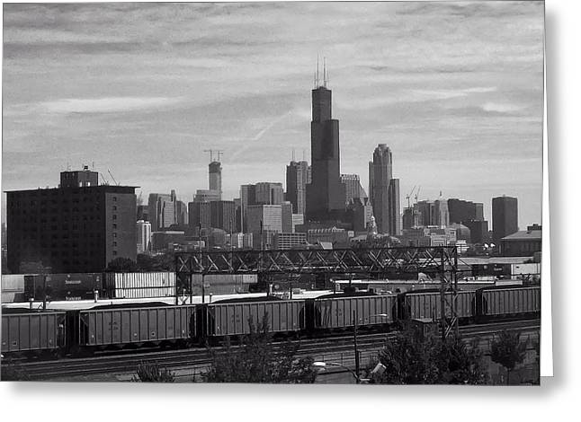 Chicago From Train Yard Greeting Card by Chris Flees