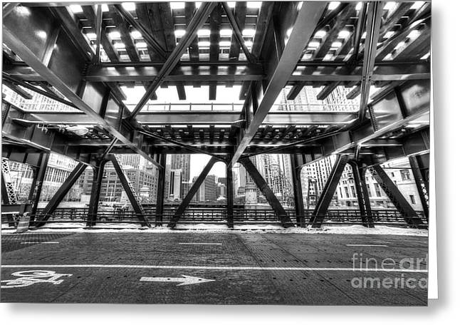 Chicago From Under A Bridge Greeting Card