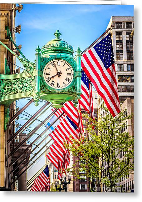 Chicago Great Clock On Macys Building Greeting Card