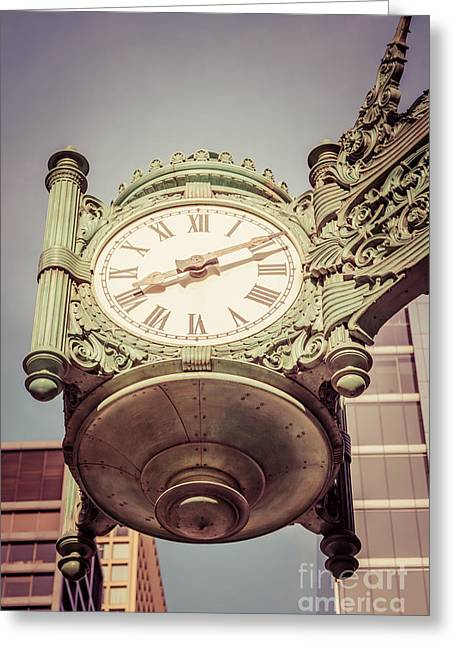 Chicago Great Clock Vintage Photo Greeting Card by Paul Velgos