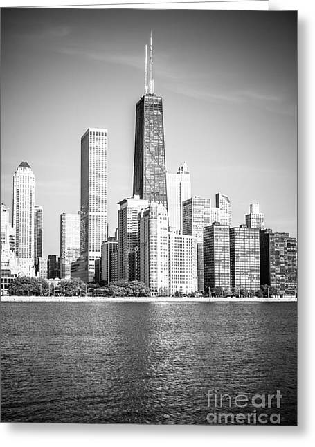 Chicago Hancock Building Black And White Picture Greeting Card
