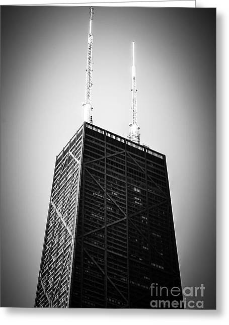 Chicago Hancock Building In Black And White Greeting Card by Paul Velgos