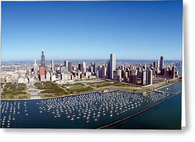 Chicago Harbor, City Skyline, Illinois Greeting Card by Panoramic Images