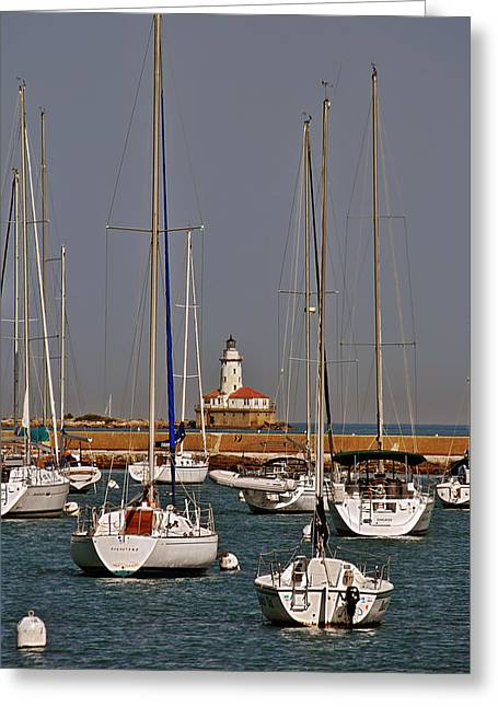Chicago Harbor Lighthouse Illinois Greeting Card by Christine Till