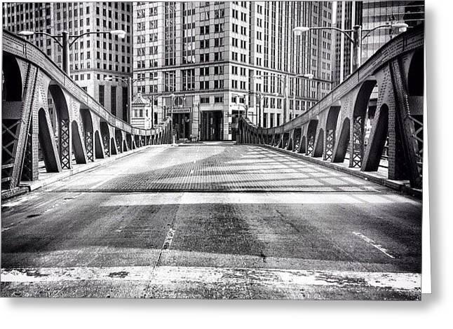 #chicago #hdr #bridge #blackandwhite Greeting Card by Paul Velgos