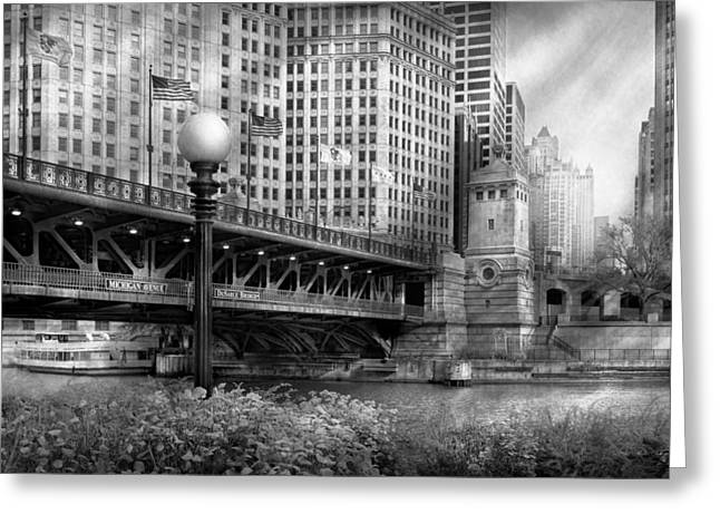 Chicago Il - Dusable Bridge Built In 1920 - Bw Greeting Card by Mike Savad