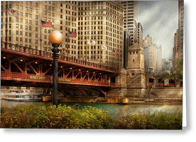 Chicago Il - Dusable Bridge Built In 1920 Greeting Card by Mike Savad