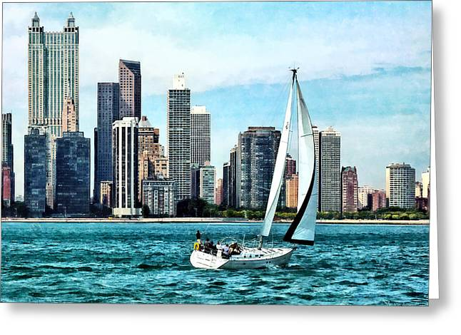 Chicago Il - Sailboat Against Chicago Skyline Greeting Card