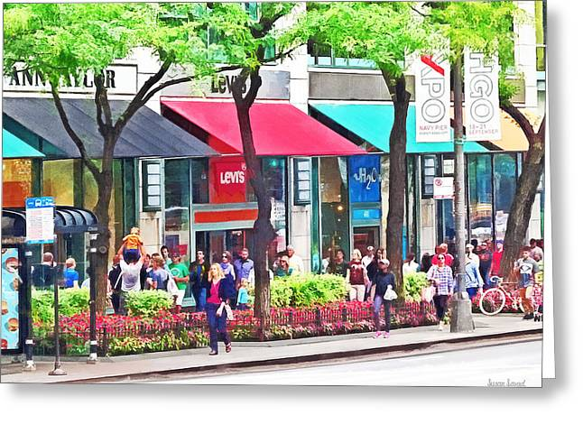 Chicago Il - Shopping Along Michigan Avenue Greeting Card by Susan Savad