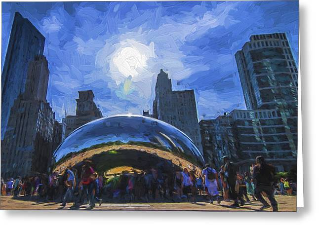Chicago Illinois Bean Skyline Painted Digitally  Greeting Card