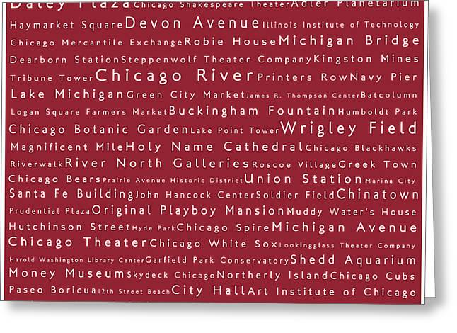 Chicago In Words Red Greeting Card by Sabine Jacobs