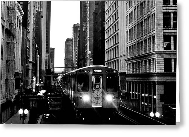 Chicago L Black And White Greeting Card by Benjamin Yeager