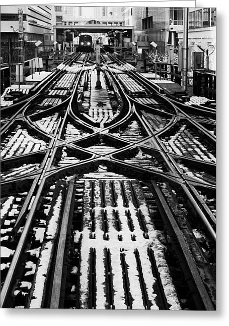 Greeting Card featuring the photograph Chicago 'l' Tracks Winter by Kyle Hanson