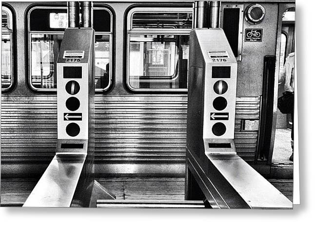 Chicago L Train Gate In Black And White Greeting Card