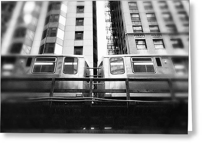 Chicago L Train In Black And White Greeting Card