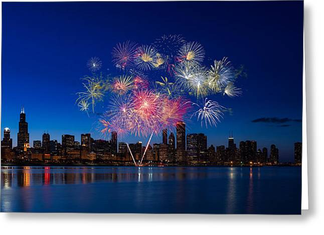 Chicago Lakefront Fireworks Greeting Card by Steve Gadomski
